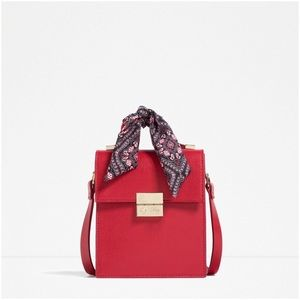 NWOT Zara Red Crossbody Bag with Scarf Detail